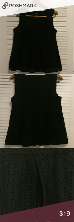 """Lovely Black Peplum 100% Cotton 100% cotton short baby doll top. Pictures don't do this justice. stitching around each cutout - a lining to keep it lady-like. Side-zip. I went over it before posting and found absolutely nothing wrong with it!  I somehow grew bigger breasts overnight and kept this top waiting for them to shrink back to size...never happened.My gain=Your gain too?!??? Tag says L (12/14) but only if smaller """"up top"""". Would fit M size also. George Tops Blouses"""