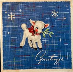 Vintage Xmas Card Blue Linen Baby Lamb GREETINGS Art Deco Era Designs 1940's