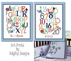 Nursery Wall Decor-Alphabet ABC Number Typography-Animal Alphabet Pottery Barn-Baby Boy Nursery Decor-Art Prints for Kids Room-Colorful Art Baby Boy Nursery Decor, Baby Boy Rooms, Baby Boy Nurseries, Nursery Ideas, Room Ideas, Kids Rooms, Christmas Candy Crafts, Christmas Diy, Diy Bags Game