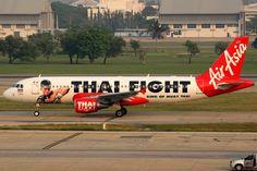 Thai AirAsia, Airbus A320-200, HS-ABK, Thai Fight livery, Bangkok Don Muang