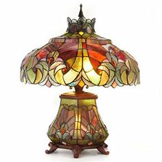 "Tiffany-Style 22"" Halston Short Stained Glass Double Lit Table Lamp  SHOPHQ"