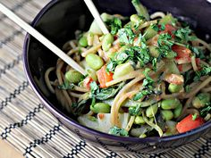 Peanut Noodle Salad with Edamame and Bok Choy Recipe (Marcus Samuelsson)- added asparagus to the stir fry, 2 tbsp sirracha to the base & more to top.