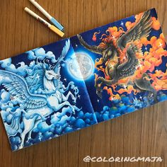 """518 Likes, 122 Comments - Maja and the beasts (@coloringmaja) on Instagram: """"Fire and Water . My Pegasus page from Mythomorphia are finally finished. I'm so excited about how…"""""""