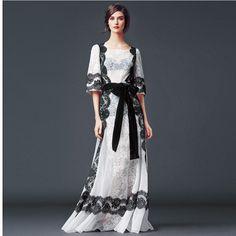 Verão 2015 de moda de nova chiffon maxi vestido de renda o mulheres impressão vestido longo plus size em Vestidos de Roupas e Acessórios