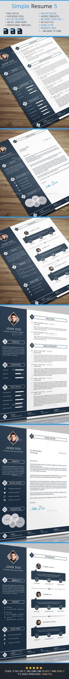 Simple Resume Template #design Download: http://graphicriver.net/item/simple-resume-5/10352706?ref=ksioks
