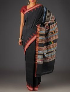 Black-Multi-Color Cotton Bomkai Saree