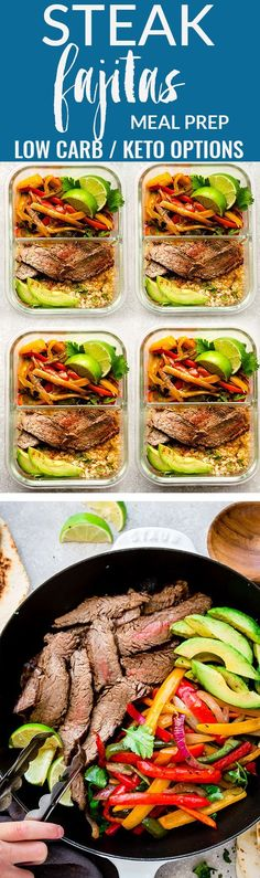 How to Make Low Carb Keto Steak Fajitas. This recipe is a quick, simple and tasty one pan meal perfect for busy weeknights. Best of all, steak cooks up tender, juicy and is ready in about 30 minutes with minimal clean-up with red, orange, yellow and green bell peppers. #lowcarb #mexican #salad #avocado
