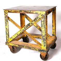 would be very cool lined up as a wall table. wheels make store design modular.