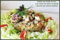 Salade de fruits de mer, crème au citron et basilic, taboulé aux herbes fraîches