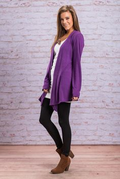 """""""Undeniable Cardigan, Purple"""" This cardigan has been a best seller for a long time now and we totally know why! If you ever put this cardigan on, you may never take it off!  #newarrivals #shopthemint"""