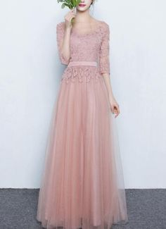 Pink Tulle Bridesmaid Dresses Long, Lovely Bridesmaid Dresses Formal Gowns 2019 on Luulla Dress Brokat Modern, Kebaya Modern Dress, Kebaya Dress, Kebaya Pink, Dress Brukat, Hijab Dress Party, Hijab Style Dress, Light Pink Bridesmaid Dresses, Bridesmaid Dress Styles