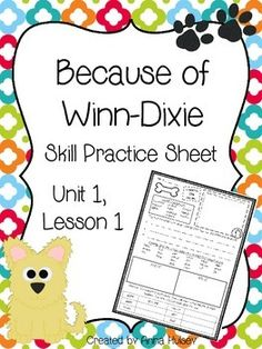 Skill practice (or homework) sheet for Journeys Fourth Grade: Because of Winn-Dixie (Unit 1, Lesson 1)
