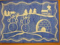 Fotka práce paní Blanka Weisgärberová Lakomá z fb skupiny Náměty a inspirace pro paní učitelky a pány učitele ;-) papír natřený inkoustem a zmizík Arts Ed, Winter Art, Elementary Art, Art School, Art Lessons, Techno, Projects To Try, Blue And White, Kids Rugs