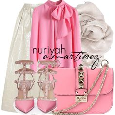 Hijab Outfit by Nuriyah O. Martinez Chicwish pink blouse €38 - chicwish.com Alice Olivia long white skirt €315 - theoutnet.com Valentino caged pumps €915 - lanecrawford.com Valentino handbag €1.545 - farfetch.com Love Quotes Scarves scarve €48 - lespommettes.com