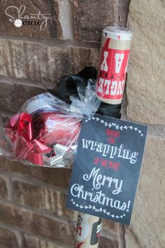 Love this idea! Give a roll of cute wrapping paper and matching bows, tags, etc.... Great teacher and neighbor gift for Christmas!