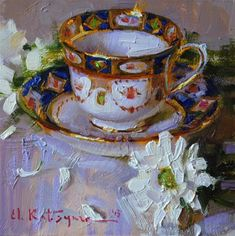 "Daily+Paintworks+-+""Teacup+and+Chrysanthemums""+-+Original+Fine+Art+for+Sale+-+©+Elena+Katsyura"