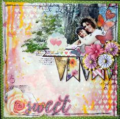 Sweet layout by Solange Marques featuring BoBunny Calendar Girl collection one layout three ways. #BoBunny @solangemarques