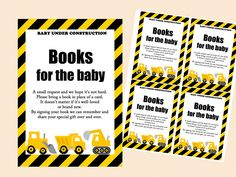 books for the baby cards, diaper raffle card and sign, construction baby shower game printables, instant download