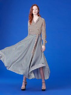 77a5165245 Diane Von Furstenberg High-Waisted Draped Maxi Skirt Silk Crepe, Full  Skirts, Maxi