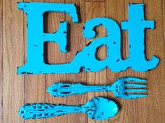 Eat fork and spoon kitchen or dinning room decor by MySugarBlossom, $32.00