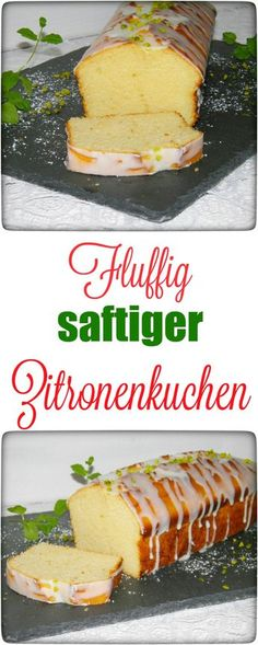 Fluffig saftiger Zitronenkuchen mit Guss Today, there is a delicious lemon cake with a cast for you – the cake not only looks fantastic, no, [. Yummy Recipes, Baking Recipes, Sweet Recipes, Cake Recipes, Dessert Recipes, Yummy Food, Lemon Recipes, Dessert Oreo, German Baking