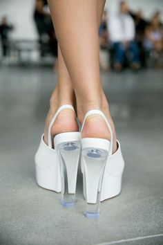 Platforms backstage at the Spring 2015 Calvin Klein Collection runway show.
