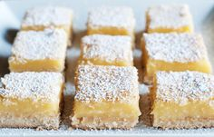 My Nan made these Lemon Bars all the time when I was young. They are so refreshi… My Nan made these Lemon Bars all the time when I was young. They are so refreshing and light. You can also use the same recipe for Orange Bars or Lime Bars! Lemon Recipes, Sweet Recipes, Cake Recipes, Kosher Recipes, Food Cakes, Lemon Squares Recipe, Best Lemon Bars, Dessert Sans Gluten, Kolaci I Torte
