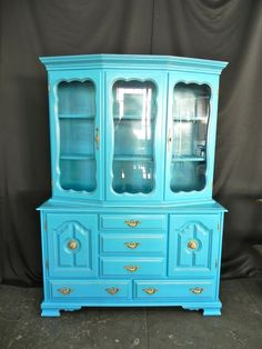Turquoise China Hutch with Gold Antique Finish