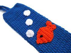 Crocheted Plastic Bag Holder Goldfish with by crochetedbycharlene