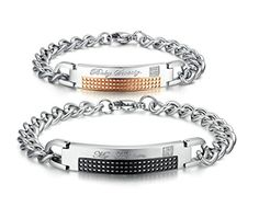 "Gnzoe 2Pcs Men Women Bracelet Bangle Stainless Steel With Engraved"" My Treasure\"" \""Baby Sweety\"" With CZ * Read more reviews of the product by visiting the link on the image."