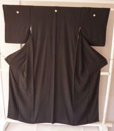 Japanese Kimono Awase Geisha costume Black used Japan Vintage gown