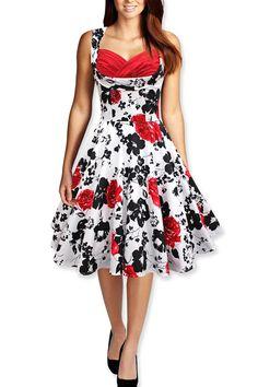 Tonval Women 50s Vintage Floral Swing Dress Audrey Hepburn Tunic Ruched Elegant Rockabilly Dresses