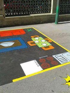 juegos patio colegio Preschool Playground, Playground Games, Outdoor Games, Outdoor Play, School Projects, Projects For Kids, Playground Painting, Crossfit Kids, Outdoor School