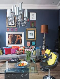 Funky Dark Wall With Pop Of Bright Colours And Artworklove The Combo It Works Every Time Result Cosy Eclectic Interior