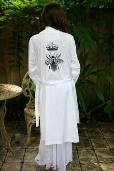 Queen Bee White Cotton Robe Lingerie Sleepwear by SarafinaDreams, $150.00