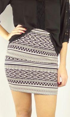 Aztec Print Skirt - Black/White   .H.C.B.