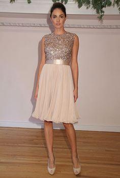 Sleeveless knee-length pink chiffon A-line bridesmaid dress with a beaded high-neck bodice, Randi Rahm