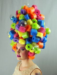 Not so Tiny Bubbles Art Wig Ready to Ship Not so Tiny Bubbled Art Wig Ready to Ship by SweetHayseed on Etsy Crazy Hat Day, Crazy Hats, Crazy Socks, Fascinator, Foam Wigs, Bubble Art, Halloween Disfraces, Costume Makeup, Hair Day