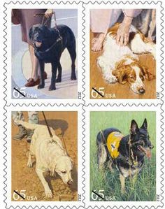 "The U.S. Postal Service released its ""Dogs at Work"" series of 65-cent stamps that depict a guide dog, a therapy dog, a military dog and a search-and-rescue dog."