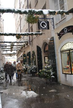 Christmas in Salzburg, Austria - one of the side streets. I can just feel the damp chill but the atmosphere is so beautiful.