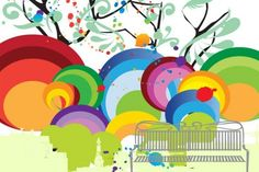 Colorful Abstract Park Bench Vector Background - http://www.welovesolo.com/colorful-abstract-park-bench-vector-background/