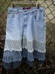 Retired jeans turned into a jean skirt using Kollage Riveting Yarns (recycled denim yarn)