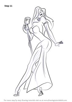 Learn How to Draw Jessica Rabbit (Jessica Rabbit) Step by Step : Drawing Tutorials