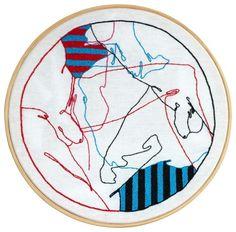 Linhas Cruzadas, 2014 Desenho bordado à mão sobre linho, montado em bastidor de madeira (35 x 35 cm)  #drawing #embroidery #handmade #leandrodario