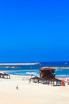Under Pristine Blue Skies...The Tel Aviv Beach in Israel