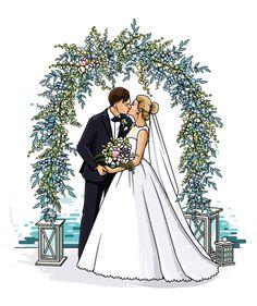 Wedding Day Cards, Diy Wedding Gifts, Diy Wedding Decorations, Wedding Drawing, Wedding Art, Wedding Couples, Wedding Dress Illustrations, Wedding Illustration, Illustrated Wedding Invitations