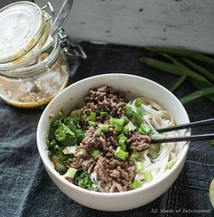 Asian Noodle Bowl with Sesame Dressing, Kale and Spring Cabbage