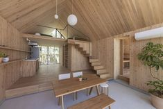 mount fuji architects studio have been awarded this year's g-mark japan good design award for their kiraku-no-ie prefabricated houses built with CLT wood. Portfolio Architect, Architect Design, Prefabricated Houses, Prefab Homes, Cabin Design, House Design, Wood Architecture, Sustainable Architecture, Bohemian Living Rooms