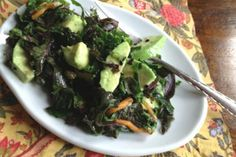 Kale, avocado, and apple salad. I was looking for a way to use some kale and an avocado. The sesame dressing is nice and I added a tart apple for additional flavor.