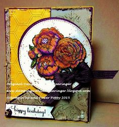 Stamping with Julie Gearinger: Happy Birthday- Shabby Chic Autumn Peonies; Stampin' Up! Gorgeous Grunge, Bella Toile (retired background stamp) along with Peonies & Tulips (Power Poppy) for the PP259 Sketch, FabFri71 Color and Power Poppy Aug15 Shabby & Chic Challenges :-)